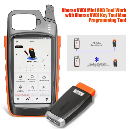 [Ship from US] Xhorse VVDI Key Tool Max with VVDI MINI OBD Tool Support Bluetooth Get Free Renew Cable