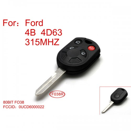 Remote Key for Ford 4D63-80BIT 4 Button 315 mhz