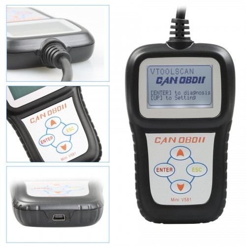 Mini V581 CAN OBDII/EOBD Code Reader Online Update Multilanguage Available