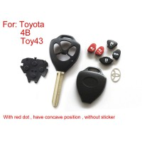 Remote Key Shell for Toyota 4 Button (With Red Dot Have Concave Position Without Sticker)5pcs/lot