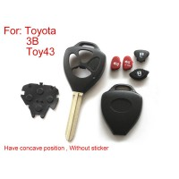 Remote Key Shell for Toyota 3- Button (Have Concave Position Without Sticker) 5pcs/lot