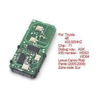 Smart Card Board for Toyota 4 Buttons 433.92MHZ Number :271451-0140-Eu