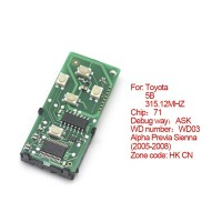Smart Card Board for Toyota 5 Buttons 315.12MHZ Number :271451-0780-HK-CN