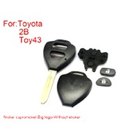 Remote Key Shell for Toyota Corolla 2 Buttons Easy to Cut Copper-nickel Alloy Big Logo With Sticker 5pcs/lot