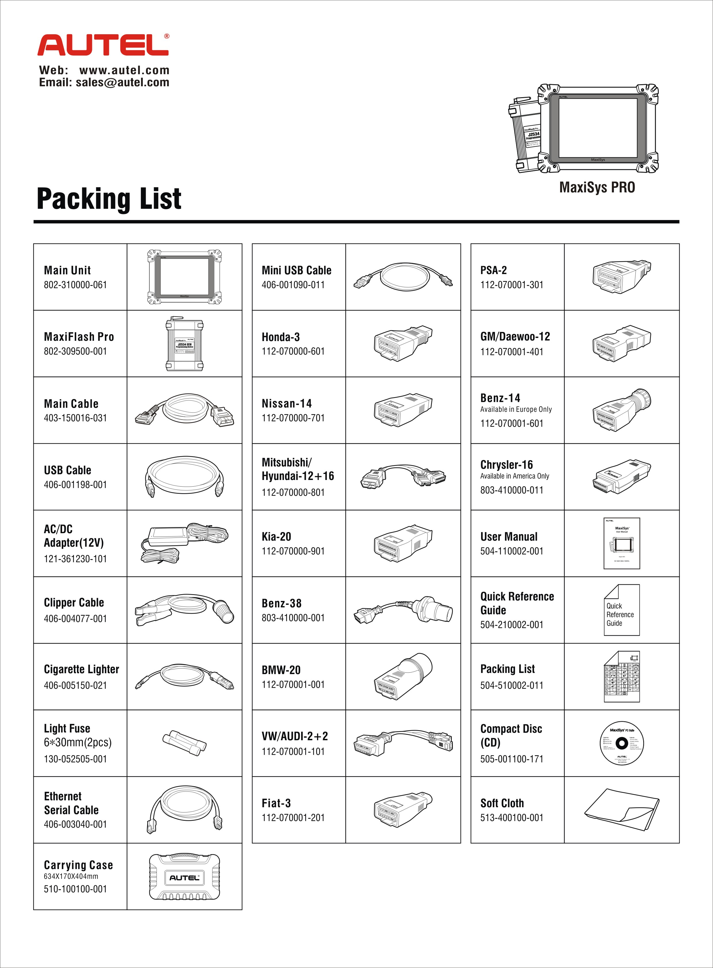 MaxiSys MS908 Packing List